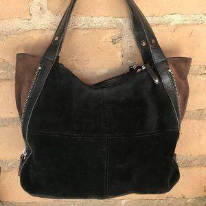 Tignanello Suede Color Block Shopper - Black/Brown